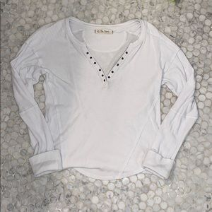 Free People White Henley Long sleeve tee